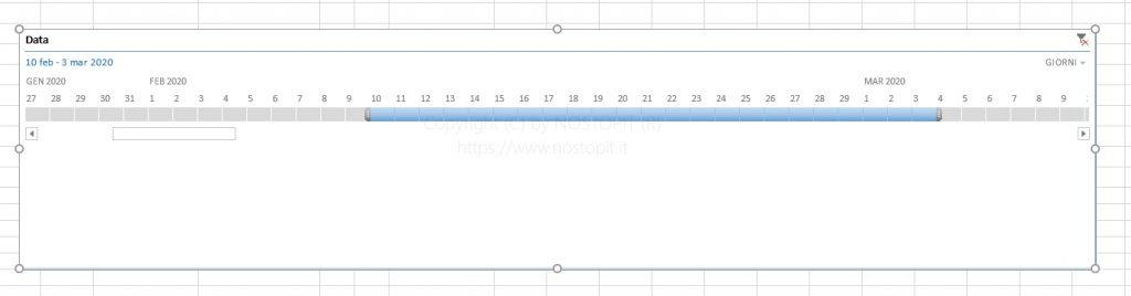 Figura 14 – Selezione di Giorni su filtro di Timeline