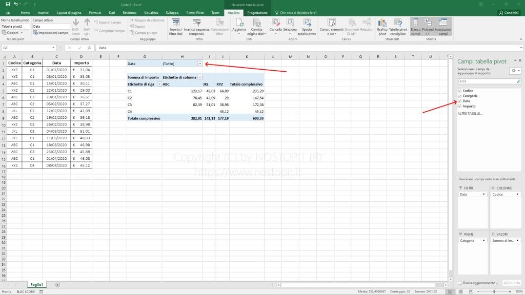 Figura 6 – Aggiunta del Campo Data come filtro nella Tabella Pivot