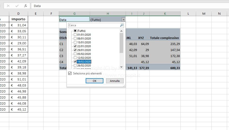 Figura 7 – Selezione filtro data su tabella Pivot